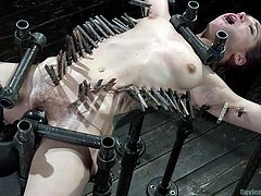 The kinky bondage device is the perfect machinery for torturing slutty bitches like Gabriella! Click to watch this naked babe with small tits, wearing clothespins and a mouth gag. She's totally helpless and has to face a merciless executor, who wants to punish her through a brutal orgasm...