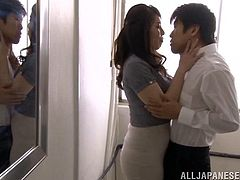 After class Ayako heads into the bathroom with one of her students, so they can get intimate with each other. She gets down on her knees and gives him a sloppy blowjob. Let's hope they don't get caught fucking.