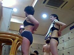 Spy cam caught lots of amateur Asian brunettes flashing their booties