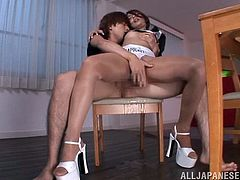 This dirty Japanese race queen gets bent over the table and I fuck her from behind so hard. I ripped her pantyhose, so I could get at her wet pussy. She rode my hard cock in the reverse cowgirl position and I licked her hard nipples.