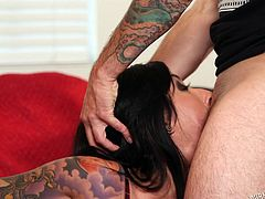 Entertaing two horny men, seems a pleasure for slutty Lily Lane. The busty brunette is dressed in a provocative way, wearing kinky stockings. Her big tits shape also a wonderful view. Click to see this hot bitch with beautiful tattooes, sucking cock and getting pounded hard from behind in the same time.