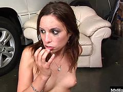 Amber Rayne gets her vehicle fixed by her black neighbor but when she goes to pick it up, he tells her if she fucks him and his interracial buddies, its free so, she takes off her panties and bends over, taking a dong into her shaved pussy while reaching out to give a couple more guys a blowjob and handjob, until his gangbang ends with multiple facials.