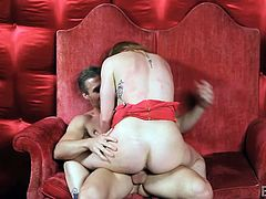 Sex in a chair is fun, but it's even better when it's a big chair. Brooklyn is getting her man's cock rammed hard inside her wet pussy. She stops to suck him, tasting her sweet juices, before riding him, then bending over to take it from behind. He licks her pussy after a bit of hard fucking. Watch!
