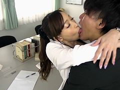 Asian secretary with a banging body bones a coworker