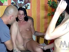 Some cross-dressing amateurs meet up with Meli to get a raunchy threesome going.