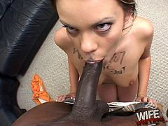 White whore gets on her knees and worships black dick properly