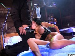 Audrey seems eager to suck cock... This passionate brunette babe with fantastic big boobs gets really horny, after her shaved appetizing cunt is deeply fingered by her horny partner. Click to watch this slut in the reverse cowgirl position.