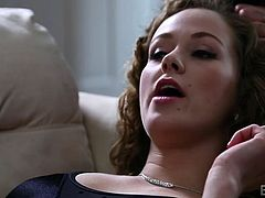 Slutty Kimber Day is a naughty whore, who gets very horny around her tattooed partner. Click to watch this curly blonde-haired babe with nice tits, sucking cock and riding it on the couch. Don't miss the inciting hardcore details!