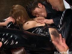 A slutty Japanese babe fires up the atmosphere with her provocative attitude. The light brown-haired bitch is wearing a kinky black costume and her tits look very appetizing... Click to watch this weird pussy cat fingered deeply and sucking cock!