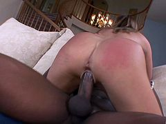 Daring white babe has her anal plugged with a big black cock hardcore