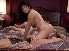A busty brunette wearing a kinky outfit, seems interested in making her lusty companion roar of pleasure... Click to watch the hot lesbian bitches playing dirty with sexy toys, such as a big anal dildo and a vibrator. Keep in mind the inciting face sitting scene!