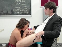 Slutty Sara is eager to seduce her chemistry teacher, to get a better grade. This attractive schoolgirl has no shame, as you can see her undressing and showing her lovely buttocks. Watch this crazy corrupt babe sucking cock and spreading legs over the desk!