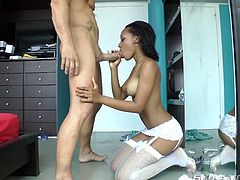 She holds that fat big man mean in her hands and licks it like a lollipop