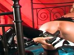 Hana and Martina Snajder pus on their best latex dresses and catsuits for this lesbian porn scene. The blondes play with big dildos and Hana even shoves a dildo into Martinas pussy that is attached to her special shoe. This is what Lesbian Fetish is all about kinky lesbians.