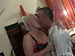 Maria enters the room, just to surprise her partner watching a porn movie. The blonde mature slut expresses her desire to please him. Watch the versed chubby bitch with big tits sucking dick and riding it.