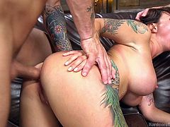 Have you got kinky fantasies with slutty ladies, who get bonded and fucked by angry guys? Click to watch busty Dollie Darko, pounded hard from behind and sucking dick in the same time. This naked tattooed bitch's ass looks so appetizing! Enjoy the hardcore scenes.