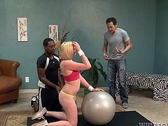 A horny ebony guy is rimming a white girl's appetizing ass... The short-haired blonde babe is eager to get on knees and please her passionate partner with an inciting blowjob. Watch her playing dirty games.