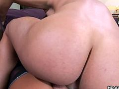 sexy brunette milf gets banged on couch