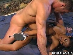 Petite Asian chick Lyla Lei takes fat white cock deep in her ass hole