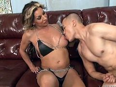This transexual beauty sticks her lovely toes in her man's mouth and makes him lick them clean. It looks like her feet aren't the only thing he is going to have to suck. She face fucks him hard, too. However, he really loves it. He rims her juicy butthole.
