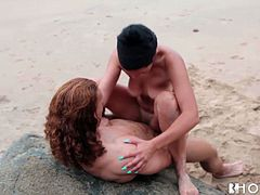 Ugly slim brunette bitch with natural tits gets holes drilled on the beach