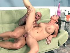 Bald dude nails her doggystyle then nuts all over her big tits