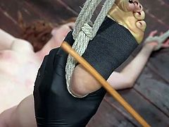 naked blonde slut got bonded and dominated