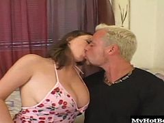 Get ready to see a huge pair of knockers, that the lovely brunette, Sara Stone is quite proud of, since she hates wearing a bra. Theyll be rolling around on her chest, when her boyfriend is busy banging her landing strip, shaved pussy, while shes laying on her bed. Next, she takes a ride on his pole, until he cums, leaving her with an oozing, creampie cumshot.