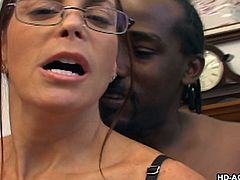 cheyenne takes a huge black cock down her throat