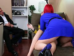 Alan is a horny pervert, who wants to see sexy Dana kissing with another lady. So, when the brown-haired milf enters the room, she is surprised to meet slutty Marie, a crazy redhead bitch, who's very dominating. Click to watch the guy masturbating, while the sluts kiss and take off their clothes...