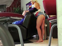 This cute blonde and her boyfriend engage in some kinky and risky action. Cristi Ann gets bent over the chair, that her dad is resting in and fucked hard. Will he wake up and catch his daughter being so naughty.