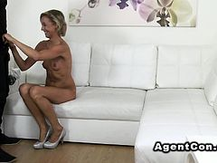 Blonde waitress fucks in casting
