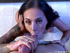 Sexy Brandy went in the kitchen for a treat, when observed that her partner followed her and hid behind the table, to see her pouring milk on her voluptuous tits. Click to watch the smokey tattooed brunette sucking his dick on knees!