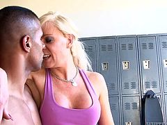 Joanne loves to work out and she is a personal trainer in a school. She likes to watch her students work out and rip their hot bodies. See her offering big boobs to one of her students in the locker room. Robert was pleasantly surprised to find out a dick under her skirt. Enjoy!