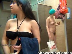 Spy at naked girls in a public shower room