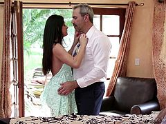 Lovely milf India, meets her man in the kitchen and then head to the bedroom with him, to experience some intimacy. Watch as she opens up her legs for him, so she can be fingered hard and fast. He slides his tongue all over her delicate vagina.