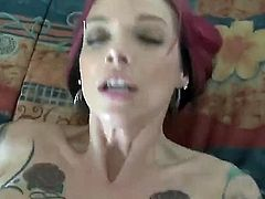 Anna Bell Peaks is a skinny girl with a pair of some big tits. Shes got a pink hair and shes all tattooed and shes going to get dicked real nice and hard in this video