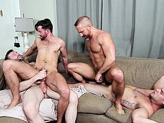 Lust is floating in the air, as these horny four men unleash their kinky fantasies. The sexy muscled guy with tattoo on his arm and wearing a tattoo on his shoulder, keeps stuffing his hard dick in his partner's ass. Watch them cumming! Enjoy and have fun...