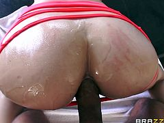 If you are attracted by desiring babes with big oiled asses, click to enjoy the sight of a blonde-haired slut's crazy wet buttocks... See her ass fingered. First, the horny guy stuffs his hard dick in her appetizing cunt, then in her lovely butt. Have fun watching!