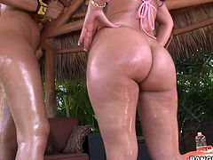Isis Taylor and Alexis Breeze are bubble butt temptresses in hot bikini. Playful brunettes flaunt their huge wet round asses. They show their meaty pussies from behind as well.