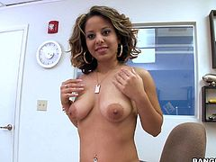 Amateur sexy Jasmine with nice natural boobs and hot ass strips naked on camera and shows her tan lines in a casting room. She shows her naughty bits before guy pulls out his dick to fuck her hard.