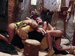 Two nasty girls Riley Steele and Vicki Chase give headjob together and then get their tight wet holes stuffed in hot threesome. Nice group scene from Peter Pan porn parody. Watch and enjoy!
