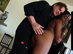 Playing dirty with a sensual brunette like naughty Shae, can be really inciting! Click to watch the nude ebony slut with small tits and crazy ass, becoming very aroused. See her on knees sucking a white boy's appetizing cock...