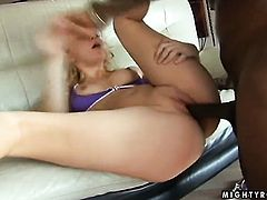 Blonde Annette Schwarz asks her man to stick his thick rod in her mouth