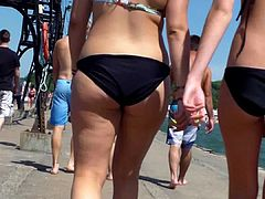 Candid Beach Bikini Ass Butt West Michigan Summer Booty