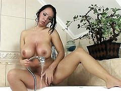 Laura Lion with big boobs and bald snatch finger fucks her bum hole the way she loves it
