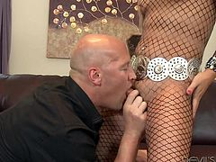 Christian has a weakness for sexy looking, blonde trannies. And Khloe is just that and much more. Christian takes Khloe's dick in his mouth and sucks it. He loves her pantyhose and tears it apart. He then licks her butthole really hard. Khloe is loving every minute of it