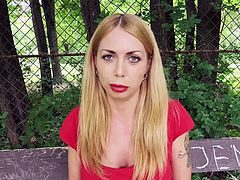 Do slutty blondes attract you? Meet Isabella, a naughty babe with fascinating big boobs. Picking her up was really easy, as she took the money without making a fuss. Click to watch the seductive lady in red dress, sucking dick with fervor!