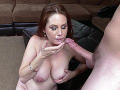 Slutty Allison looks simply hot, moving her naked body with lascivious motions. Click to watch the luscious redhead milf with voluptuous breasts, sucking her partner's appetizing cock with fervor! Don't miss the exciting scenes...