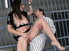 Brunette Eloa Lombard with big breasts and hot man are two sex addicts that make each other happy in hardcore sex action